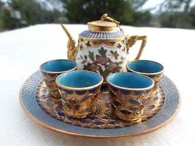 Amazing Chinese Cloisonne Blue Gold Green Enamel Miniature Tea Set