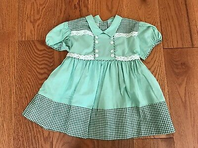 Vintage 1950's-60's Green Gingham Eyelet Lace Baby Girls Dress