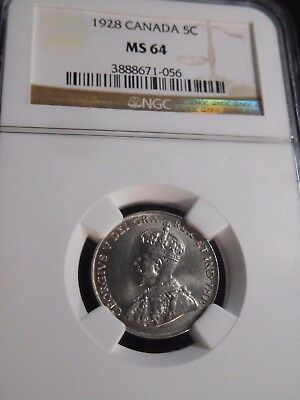 INV #T114 Canada 1928 5 Cents NGC MS-64
