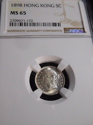 INV #T134 Hong Kong 1898 5 Cent NGC MS-65