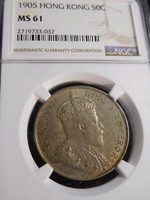 INV #T137 Hong Kong 1905 50 Cent NGC MS-61