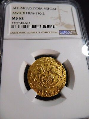 INV #T143 India Awadh AH-1240//6 GOLD Ashraf KM-170.2 NGC MS-62