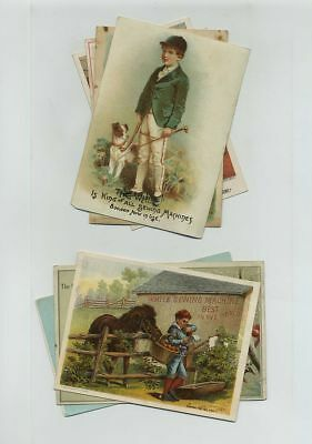 Lot 7 White Sewing Machine Advertising Trade Cards Pony Dogs Kids cv2023