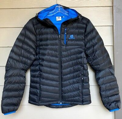 NEW Men's Salomon Halo Climawind Black Puffer Hooded Down Jacket S Small