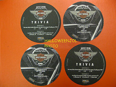 Harley Davidson MILLER Beer 95th Anniversary BAR Motorcycle 4 Coasters NEW