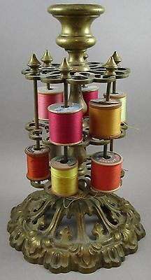 Antique Brass Thread / Spool Holder with Six Rods