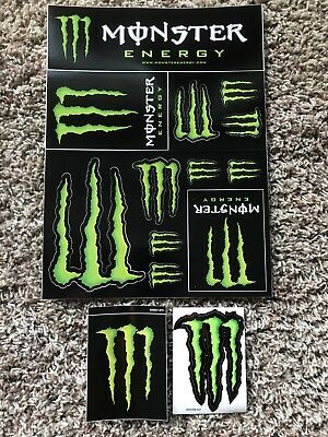 New Monster Energy Sticker Decal Sheet 12 Stickers + 2 Bonus Stickers Decals