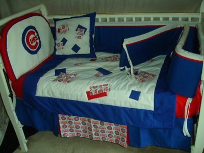 22e8c14f CUSTOM MADE BABY Crib Nursery Bedding set m/w Chicago Cubs MLB fabric