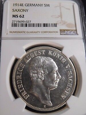INV #T226 German State Saxony 1914-E 5 Marks NGC MS-62 RARE Type in MS