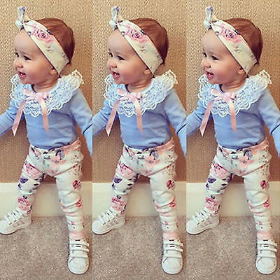 3pcs Infant Baby Girl Toddler Clothes Set Lace Top T Shirt Floral Pants Outfits