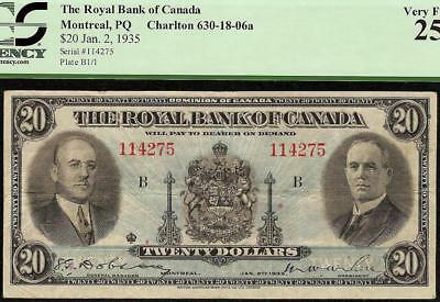 1935 $20 Dollar Royal Bank Of Canada Currency Note Canadian Paper Money Pcgs