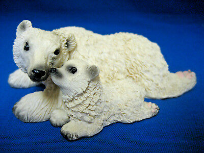 Laying Polar Bears Figurine Statue Sculpture Arctic Animal Collectible