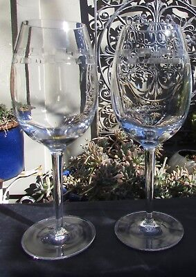 Stunning Pair Waterford John Rocha  Cut Crystal Large Wine Glasses Boxed