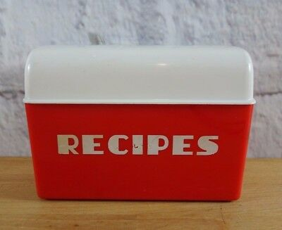 Vintage Bartone Red & White Recipe Box Container Retro Made in Aus