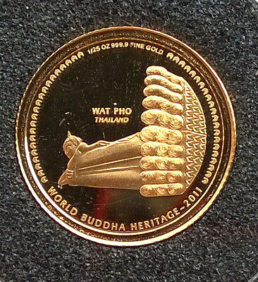 Bhutan 2011 Wat Pho Thailand 200 Ngultrums Gold Coin,Proof
