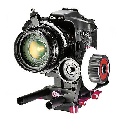 Neewer Red Follow Focus with Single 15mm Rod Clamp for DSLR Cameras DV Camcorder