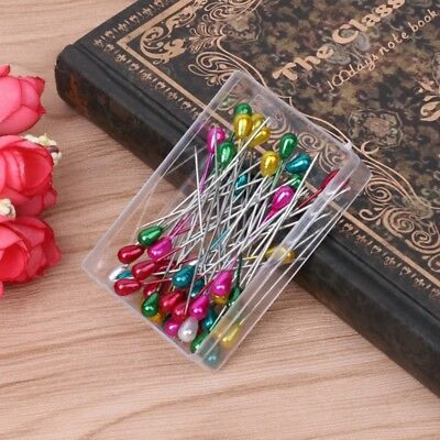 50Pcs Water Drop Head Dressmaking Pins Weddings Corsage Florists Sewing Pin