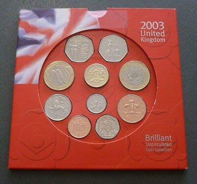 2003 Royal Mint UK Uncirculated BU 10-Coin Year Set  DNA £2 & Suffragettes 50p