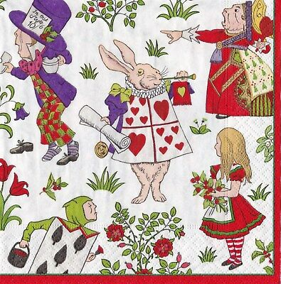 Christmas Paper Napkins Caspari 20 pack -  Alice In Wonderland