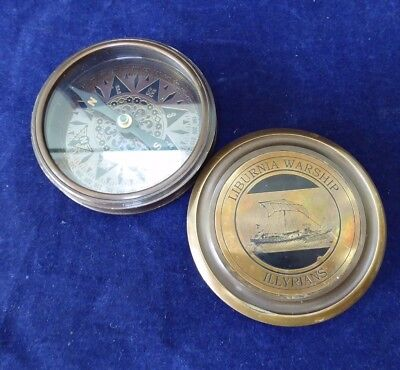 Collectable Liburnia Warship marine compass in screw top brass case ##BUX76BBS