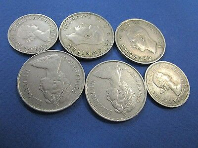 6 x English Circulated Coins, From 1948 to 1961