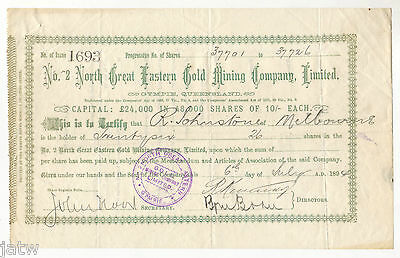 Share Scrip - Mining.1894 No.2 North Great Eastern Gold Mining Co - Gympie Qld