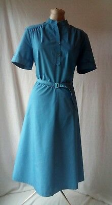 Quality DIOLEN 1960s 1970s  retro vintage dusky blue a line tea dress 16