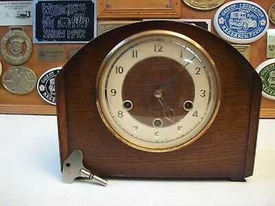 2 Smiths 1 SMITHS  Enfield vintage Westminster chime wooden case mantel clocks