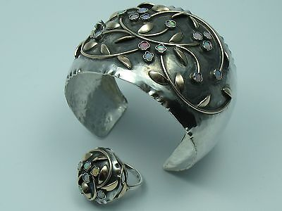 Rohrbacher Handmade Wonderful Opal Bracelet with Ring 333 Gold and 800 Silver
