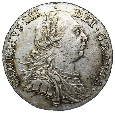 1787 Shilling - George Iii British Silver Coin - V Nice