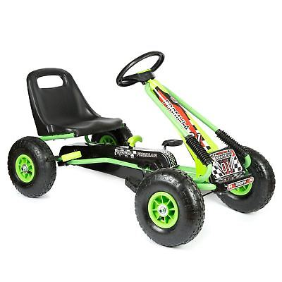 Kids Racing Pedal 2 Speed Go Kart with Inflatable Wheels and Hand Brake - Green