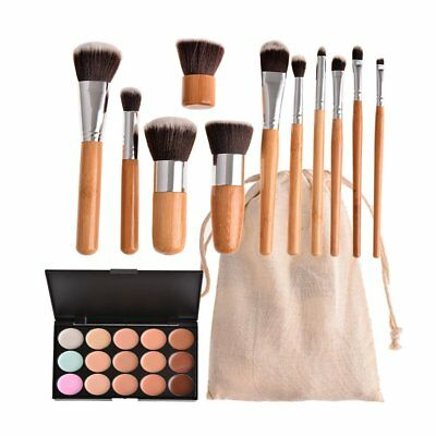 15 Color Concealer Palette Kit with 11pcs Bamboo Brush Face Makeup Contour Cream
