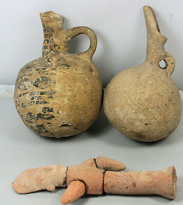 Five ancient pottery items - Iron Age, Greek, Roman oil lamps