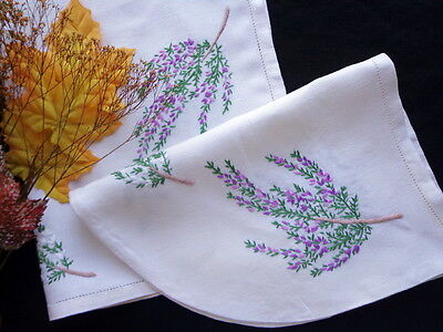 Vintage Scottish Cottage Hand-Embroidery - Tea Cozy Cover and Tray Cloth HEATHER