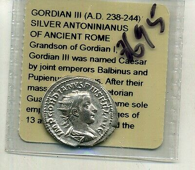 Gordian 111 238 - 244 A.d. Roman  Silver Ancient Coin 8695E
