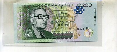 Mauritius 2010 200 Rupees Currency Note Lot Of 5 Consecutive Cu 4997D