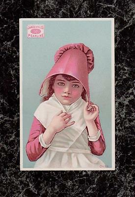 Girl in Pink & White James Pyles Pearline Soap Victorian Trade Card Excellent