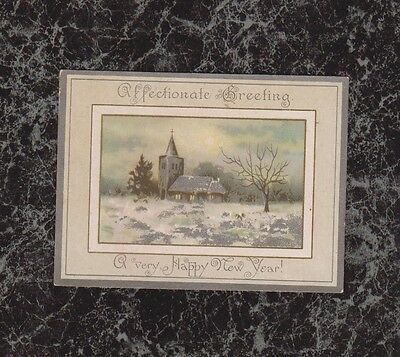 Scene of Church in Winter Small Victorian New Year Card Highlighted in Silver
