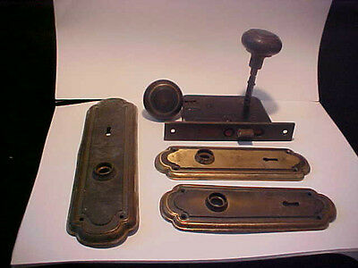 vintage Corbin door knob and lock late Victorian brass 2 plate'S  NO KEY