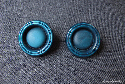 2 Vintage Nice Design Marbled Blue Galalith Large Buttons