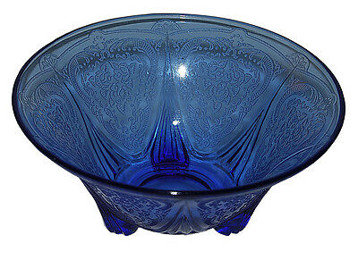 Hazel Atlas Royal Lace Cobalt Blue Footed Nut Dish - RARE
