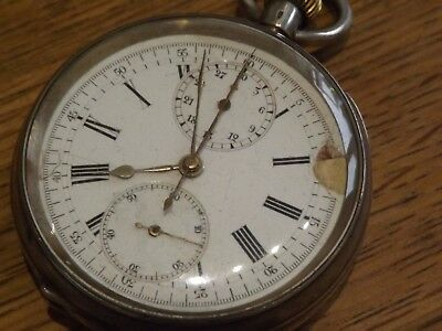 Rare  Solid Sterling Silver Triple Dial Chronograph Gents Pocket Watch Working