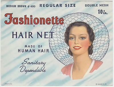 Vintage 1940's Fashionette Hair Net W/ Real Hair Medium Brown  Pin Up Graphics