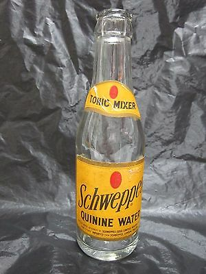 Schweppes Quinine Tonic Water Six Ounce 1965 Glass Bottle Paper Label Returnable
