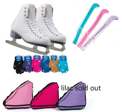 Riedell Figure Skates Beginners Basic Bundle Pearl Skates Bag Gloves Guards