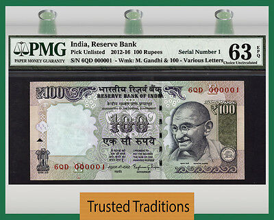 Tt  2012-16 India 100 Rupees Exciting Low S/n# 000001 With Block# 6Qd Pmg 63Epq!