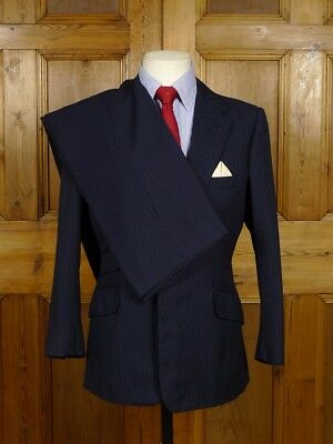 Vintage Edward Sexton Savile Row Bespoke Navy Blue Pin-Stripe Suit 37