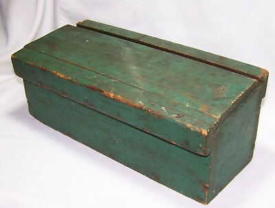 "Antique Primitive Handmade Candle Box Sliding Top Original Green Paint 12"" Long"