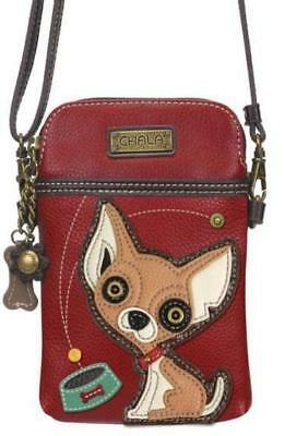 Chala Chihuahua Cell Phone Crossbody Xbody Handbag Purse Dog Burgundy 827CH9