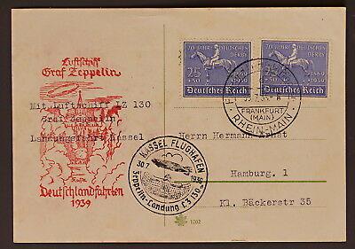 Zeppelin-Beleg / Blaues Band (Pferd) Nr. 698 MEF;Germany